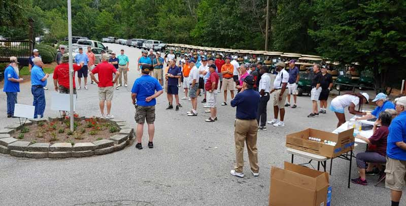Golfers gather at Paris Mountain Country Club for Veterans of America Chapter 523 annual golf Tournament.