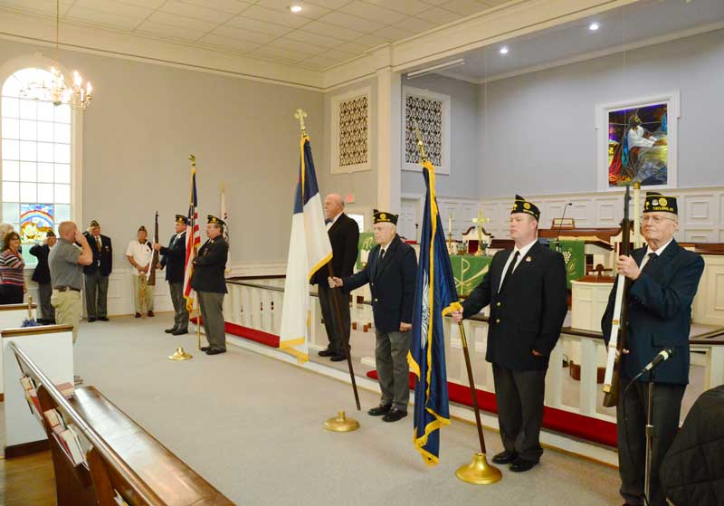 Major Rudolf Anderson, Jr. Post 214 Color Guard Presented The Colors at Lee Road Methodist Church.