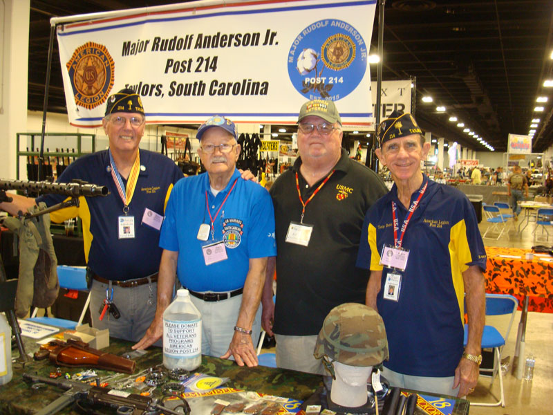 Member of Major Rudolf Anderson, Jr. Post 214 Carroll Kelley, Peter Butchart, Ed Collins, and Adjutant Tony Dunn attend October Gun Show at TD Center to inform visitors about American Legion and their programs to help Veterans and Community.