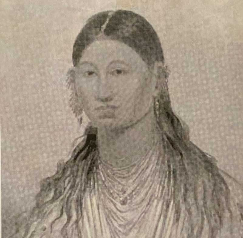 Marie Ioway Dorian (ca, 1786-1850) as she would have appeared during her long trek across the early American West.