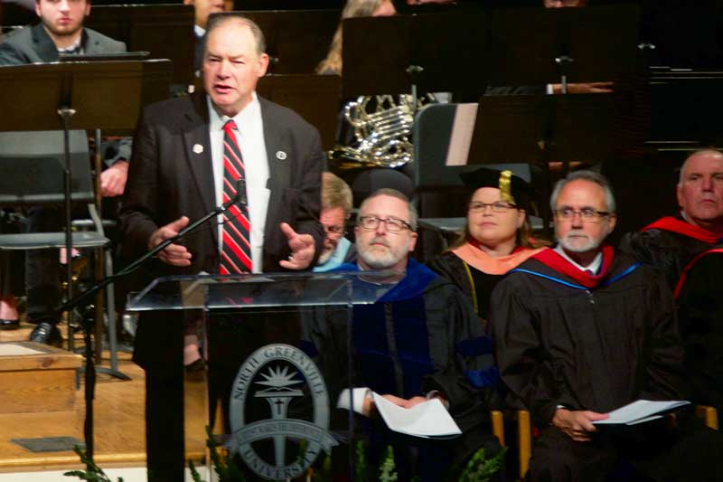 The Honorable Mike Burns, Representative for District 17 of the South Carolina House of Representatives, addressed the over 200 undergraduates, graduates, doctoral candidates, and first PA Medicine graduates at fall commencement on Saturday, December 8, 2018.