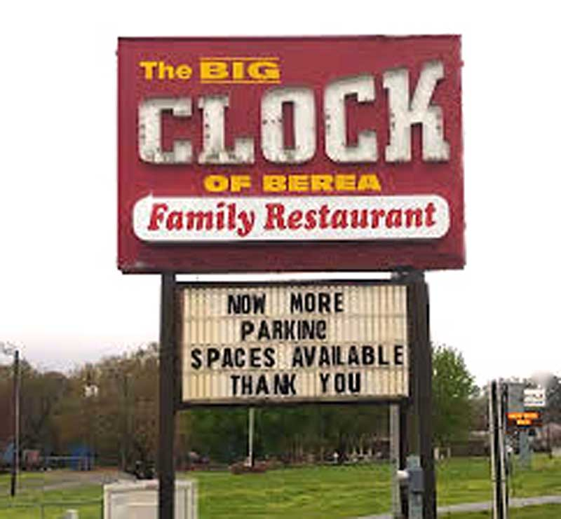 The BIG Clock Parking Spaces Available