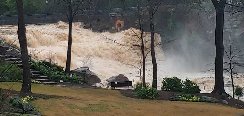Greenville Reedy River Water Fall after heavy rains.