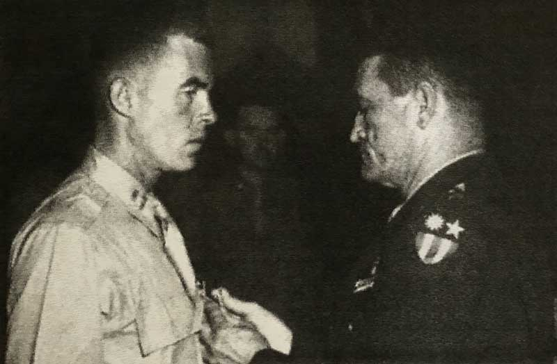 Gen. Claire Chennault promotes John Birch to Captain in the U.S. Army - July 1944. Capt. Birch also was awarded the Legion of Merit Medal by Gen. Chennault that same month.