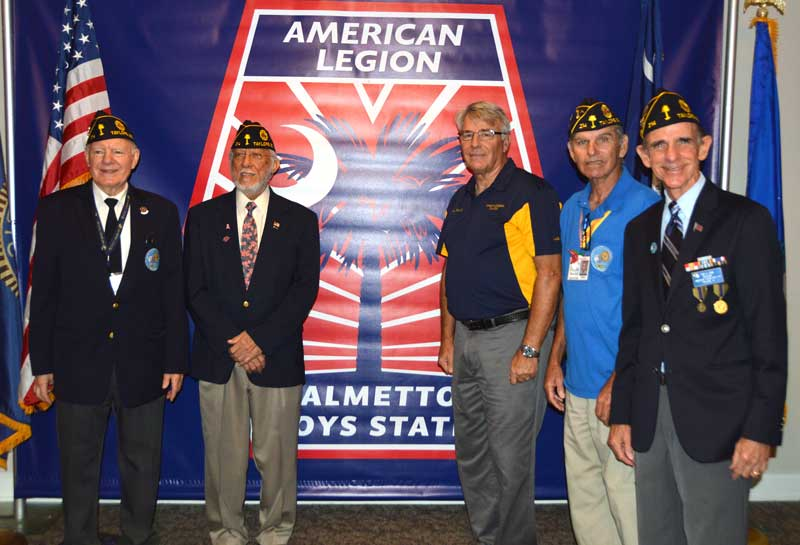 Chaplain Jack Dorn, Larry Foster, 2nd Vice Commander John Banning, Sergeant at Arms Chris Baird and Adjutant Tony Dunn of American Legion Major Rudolf Anderson, Jr. Post 214 of Taylors visits Boys State held at Anderson University. - Banita Wells