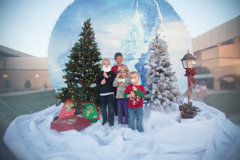 A giant snow globe photo spot on front campus of BJU.