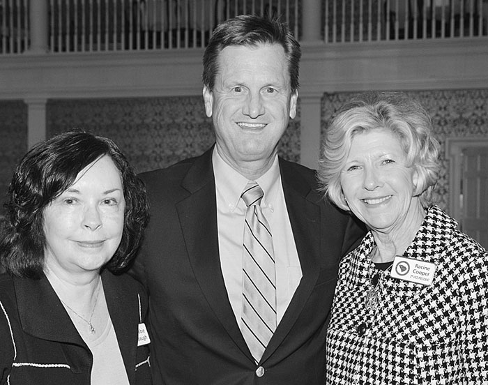 Left to right: Debbie Spaugh, Legislative Liaison; Sen. Tom Davis and 1st Vice GCRWC  President Racine Cooper.