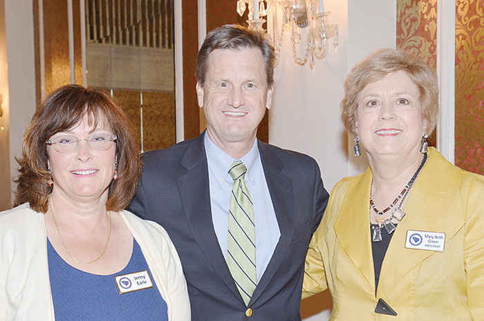 "Left to right: Jenny Earle, Sen. Tom Davis and Club President Mary Beth Green.  Sen. Tom Davis addressed the Greenville County Republican Women's Club on the topic of ""Why Nothing Gets Done in Columbia."" You can view his presentation on the GCRWC website at www.GCRWC.com."