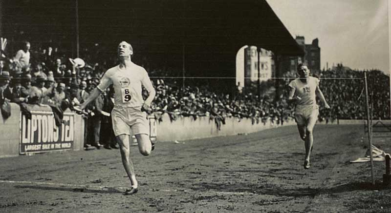Eric Liddell, in one of his pre-1924 Olympic Races. He perished in a Japanese Internment Camp in 1945.