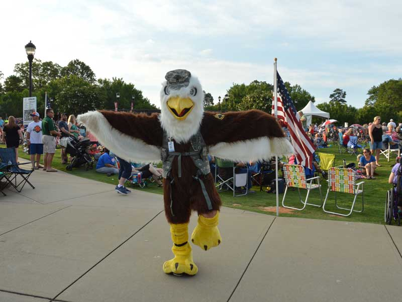 At Freedom Blast, held at City Park in Greer, SC, a Sergeant Eagle showed up to entertain visitors.