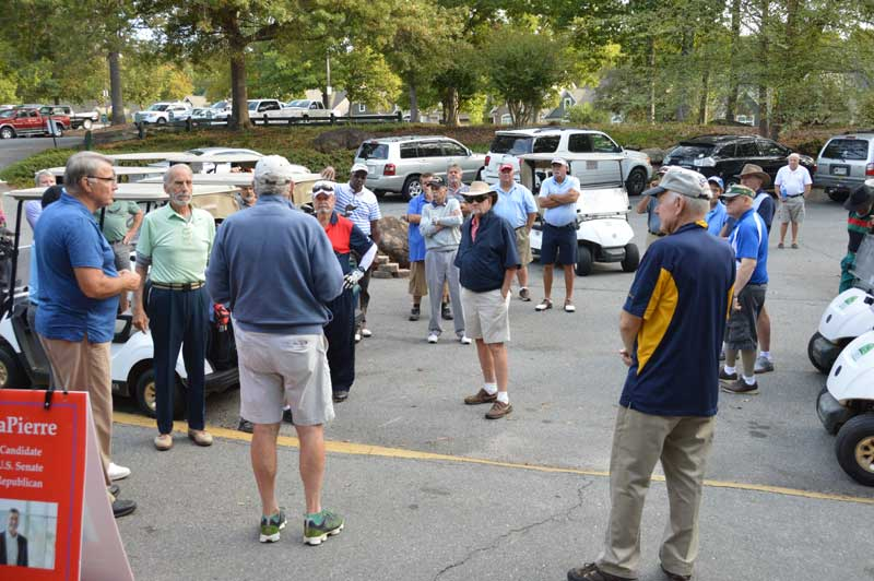 American Legion Major Rudolf Anderson, Jr. Post 214 held their annual Golf Tournament at Pebble Creek Country Club. Instructions are given to golfers before tournament.