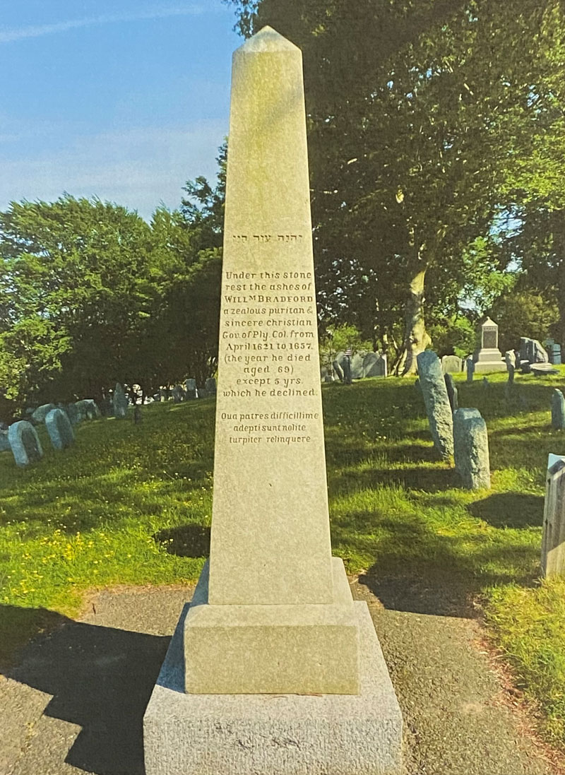 Grave of Gov. William Bradford on Burial Hill, Plymouth, Mass. The Latin inscription is the Bottom three lines.