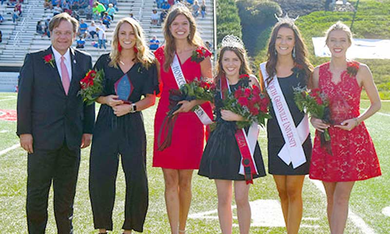 L to R: NGU President Dr. Gene C. Fant, Jr.; Courtney Williamson, first runner-up; 2017 Homecoming Queen Eden Crain; 2018 Homecoming Queen Allison Yeater; Miss NGU 2018 Hannah Pearson,  and Gabriella Porter, second runner-up were announced at halftime of the Crusader's homecoming game against Shorter University.