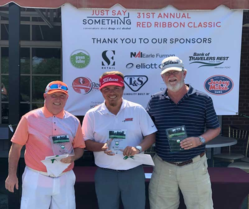 The 31st Annual Red Ribbon Classic Golf Tournament 1st place winning team, Cowart Awards: (left to right) Raji Ward, Jason Rastatter, Robbie Edwards & Tom Chamberlin!
