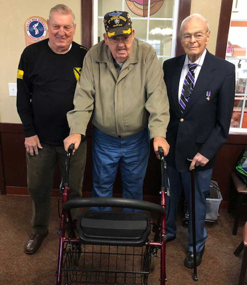 Ex POWs, L-R, Bob Bostwick, Campobello, SC, member Chapter #301, Frank Tooley, Greer, SC, member Chapter #301, Bill Funchess, Clemson, SC.
