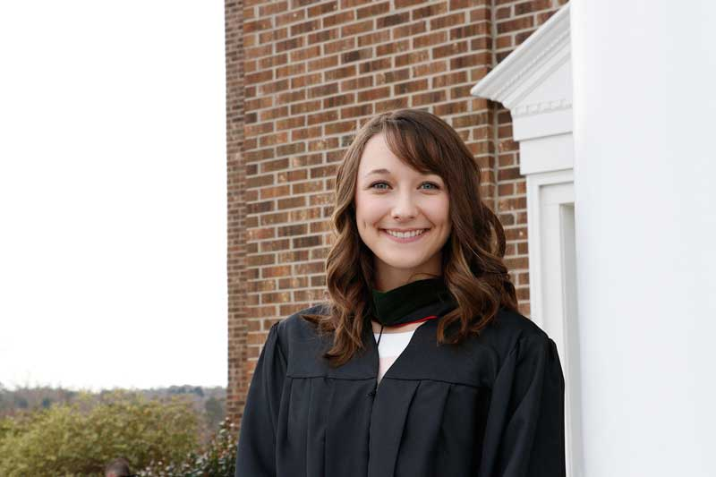 Kathryn Allen Wilkie ('16, P.A. '18) from Sumter, is the first NGU undergraduate to be accepted and graduate from NGU's PA Medicine program.