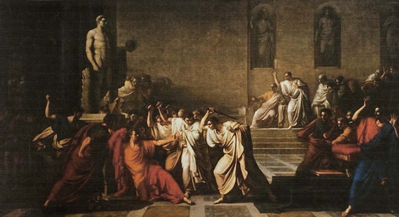 The assassination of Julius Caesar in the Roman Senate, March 15, 44 B.C., as depicted by Italian Painter, Vincenzo Camuccini (1771-1844). Painted in 1798.
