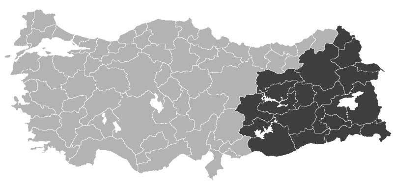 Majority Kurdish provinces in Turkey