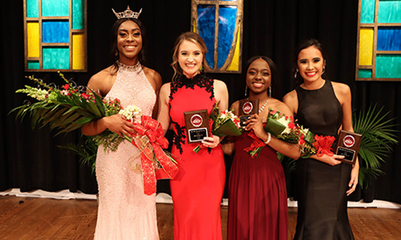 L to R; Miss NGU 2020 Kasie Thomas, first runner-up Brooke Biondo, second runner-up Hope Scott, and third runner-up Kimberly Ensley participated in the Miss NGU scholarship competition on Friday, Jan. 17.
