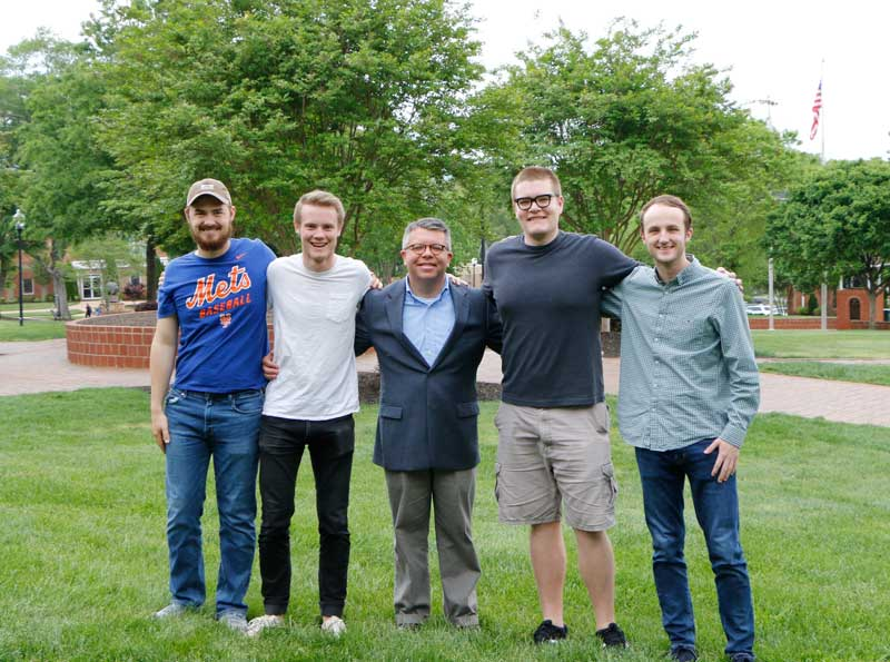 Kyrusso club members from left: Noah Toney (expected '19), John Kesey (expected '19), Faculty Advisor Dr. Frankie Melton, Chris Roberts (expected '19), and Tadd Smaok (expected '19). Club members not pictured: Austin Ehrhardt (expected '22), Seth Fisher (expected '19), Jon Ross Fordree (expected '19), and Seth Parrish (expected '20).