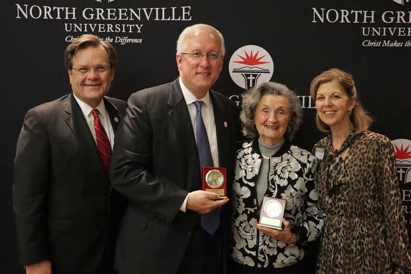 From left: NGU President Dr. Gene C. Fant, Jr., NGU Board of Trustees Chair David Charpia, Dr. Betty Jo Craft, and NGU First Lady Lisa Fant.
