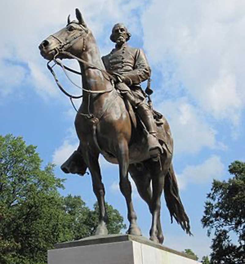 Statue of Nathan Bedford Forrest, Famed Confederate Cavalry leader, Removed from Memphis park in 2017.