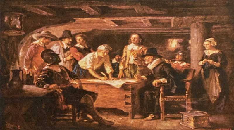 Signing the Mayflower Compact, Nov. 11, 1620, whie achored off the tip of Cape Cod, of what is now Provincetown Harbor, Mass.