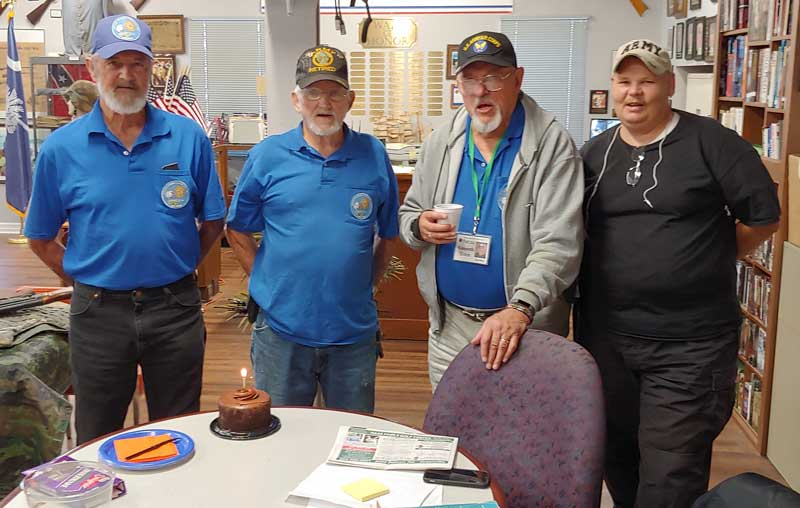 A few members of American Legion Major Rudolf Anderson, Jr. Post 214 in Taylors, S.C. surprise veteran Ron Gentry with a Happy Birthday Cake.  Left to Right: Ron Gentry, Bobby Prater, Ken Hemm and Stuart McClure.