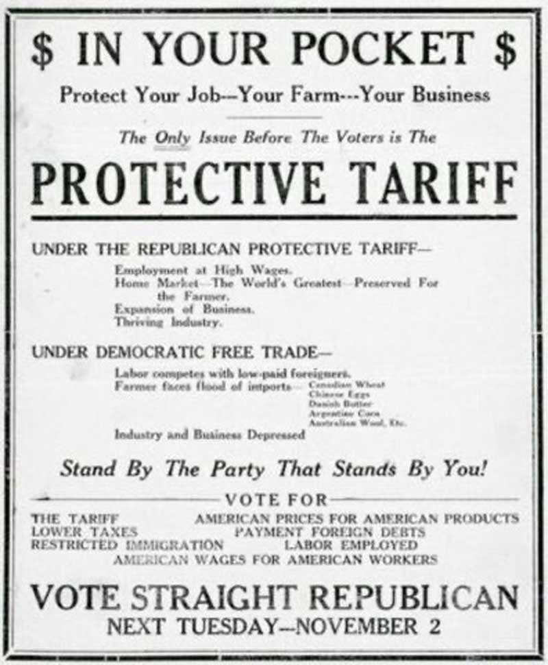 "1860 Election Poster. ""The only Issue before the Voters is the Protective Tariff."" Presented a flawed sectionalist economic appeal."