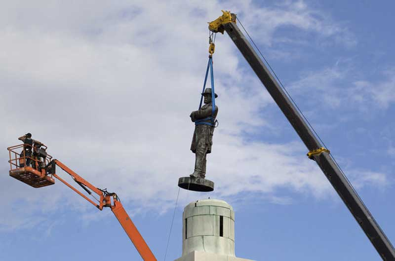 Cultural Marxism. Robert E. Lee statue being removed from Jackson Square in New Orleans in 2017.