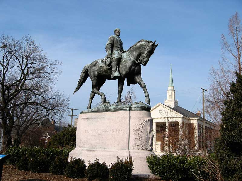The statue of Robert E. Lee still stands unshrouded in Charlottesville VA. It is currently protected by Virginia State law, but liberal politicians and activists are suing to remove it. Public opinion polls in 2017 favored keeping the statue in place  The media coverage of protests to stop its removal in 2017 was sickening in its willful ignorance  and  dishonesty.