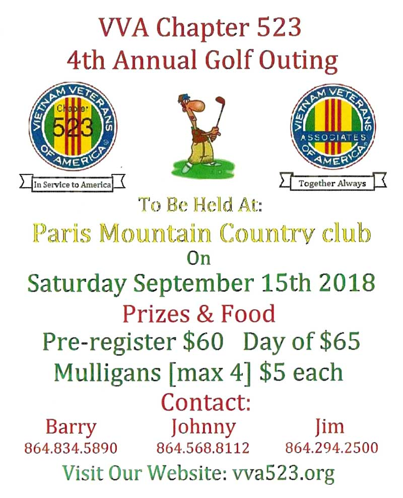 Vietnam Veteran Association Golf Tournament at Paris Mountain Country Club