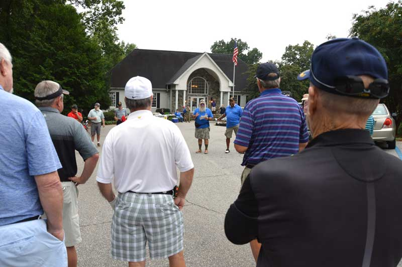 Guest gather for instructions at VVA Chapter 523 annual Golf Tournament held at Paris Mountain Country Club.