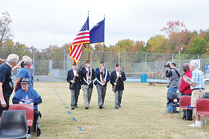American Legion Post 214 Major Rudolf Anderson, Jr. Color Guard Posts the Colors at Eastside YMCA for Veteran's Day Celebration.