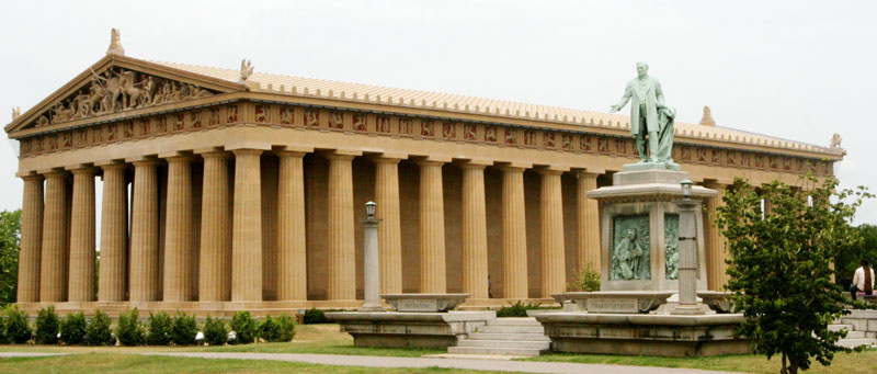 Parthenon in Nashville, Tennessee glorifies ancient Greece and replicates original in Athens, Greece.